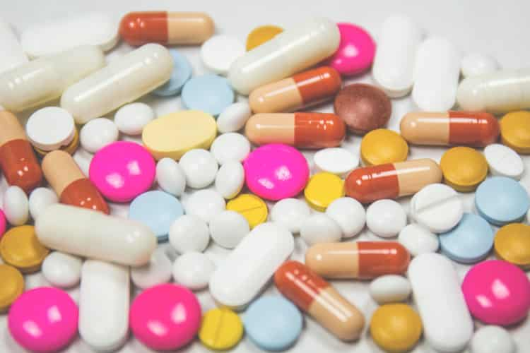 Multi-colored sleep aids in tablet and pill form