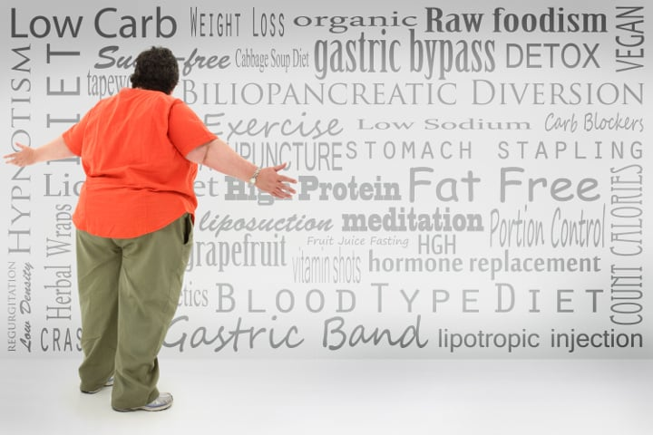 Overwhelmed obese woman looking for weight loss answers