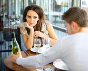 Woman looking longingly at her date